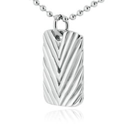 West Coast Jewelry Stainless Steel Antiqued Diagonal Groove Dog Tag - Thumbnail 1