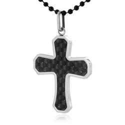 West Coast Jewelry Stainless Steel Black Carbon Fiber Inlay Cross Necklace - Thumbnail 1