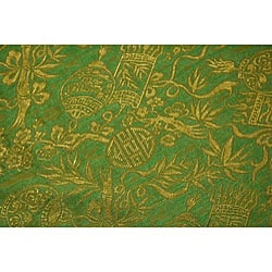 Small Flowering Lotus Green Silk Hanging Lamp (Vietnam) - Thumbnail 1