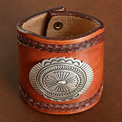 Leather and Sterling Silver Concho Bracelet (Native American) - Thumbnail 1