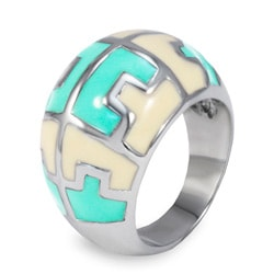 Stainless Steel Mint and Cream Enamel Pattern Ring - Thumbnail 1