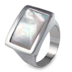 West Coast Jewelry Stainless Steel Mother Of Pearl Square Ring
