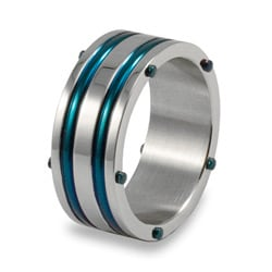 West Coast Jewelry Stainless Steel Blue Inlay Ring