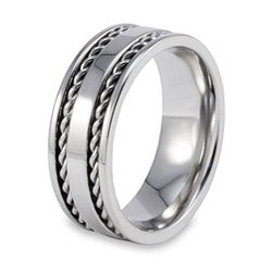 Stainless Steel Double Cable Inlay Ring - Thumbnail 1