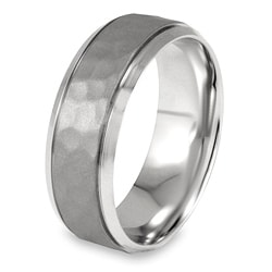 West Coast Jewelry Stainless Steel Polished Textured Ring - Thumbnail 1