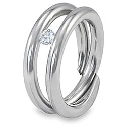 West Coast Jewelry Stainless Steel Floating Cubic Zirconia Ring