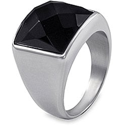 West Coast Jewelry Stainless Steel Faceted Onyx Ring - Thumbnail 1