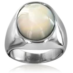 West Coast Jewelry Stainless Steel Mother of Pearl Ring - Thumbnail 1
