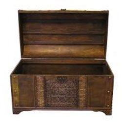 Old Fashioned Walnut Treasure Chest Styled Wood Trunk