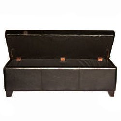 Dark Brown Bicast Leather Storage Ottoman Bench