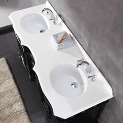 OVE Decors Tristan 60-inch Double Sink Bathroom Vanity with Marble Top