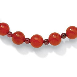 Angelina D'Andrea Red Jade 24-inch Beaded Necklace - Thumbnail 1