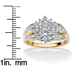 Isabella Collection 18k Gold over Sterling Silver Diamond Cluster Ring - Thumbnail 1