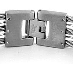 West Coast Jewelry Stainless Steel 3-strand Cable Bracelet - Thumbnail 1