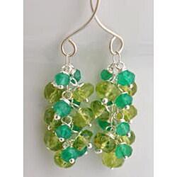 Sterling Silver Peridot and Green Onyx Cascade Earrings