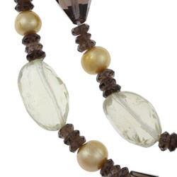 New York Pearls Champagne FW Pearl and Multi-gemstone Necklace (9-10 mm) - Thumbnail 1