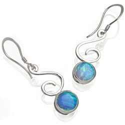 Sterling Silver and Created Blue Opal 'Bella' Earrings