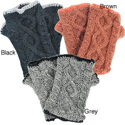 Wool Cable-knit Arm Warmers (Nepal) - Thumbnail 1