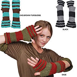 Wool Big Stripe Arm Warmer (Nepal) - Thumbnail 1