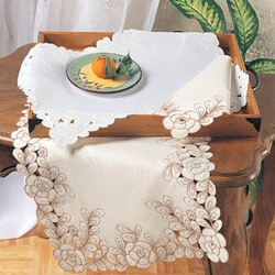 Embroidered floral cut work 16 x 54 inch table runner for Table runners 52 inches