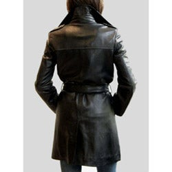 Izod Women's Belted Leather coat - Thumbnail 1