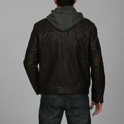 5dea8189f3 Shop Perry Ellis Men s Faux Leather Hooded Jacket - Free Shipping On ...
