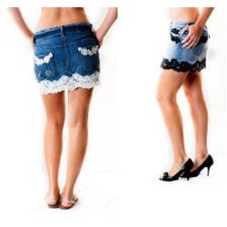 Denim and Lace Women's Mini Skirt