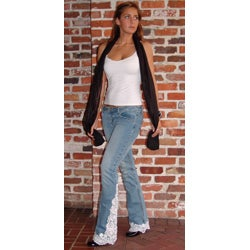 Blue Jeans with White Lace Trim - Thumbnail 1
