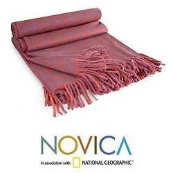 'Cozy Purple' Alpaca Wool Throw Blanket (Peru) - Thumbnail 1