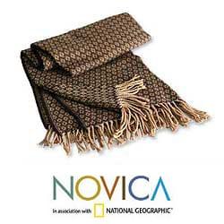 Handmade 'Cocoa and Cream' Alpaca Wool Throw (Peru) - Thumbnail 1