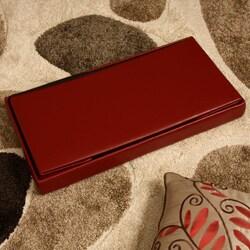'Kirstina' Red Faux Leather Storage Ottoman (Set of 2) - Thumbnail 1