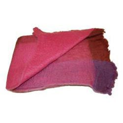 Mohair Blend Fuchsia Throw (India) - Thumbnail 1