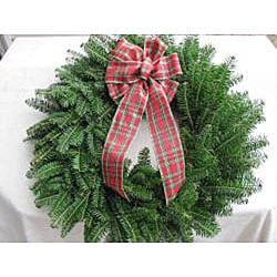 Fresh Balsam Red Bow Christmas Wreath