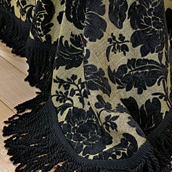 Victoria Black Floral Chenille Bedspread - Thumbnail 1