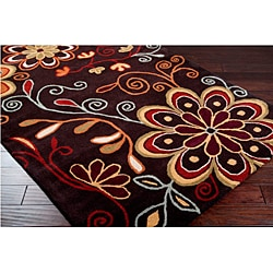 Hand-tufted Whimsy Chocolate Wool Rug (8' x 11') - Thumbnail 1