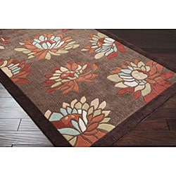 Thumbnail 2, Hand-tufted Brown Floral Rug (8' x 11'). Changes active main hero.
