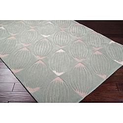Hand-tufted Green Geometric Rug (8' x 11') - Thumbnail 1