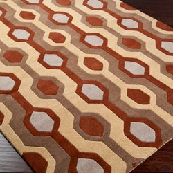 Hand-tufted Brown Contemporary Mayflower Wool Geometric Rug (8' x 11')
