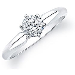 14k White Gold Certified 1/2ct TDW Round Diamond Solitaire Ring - Thumbnail 1