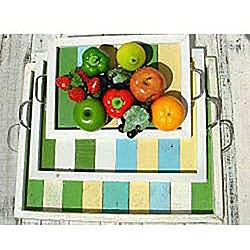 Handmade Recycled Wood Small Multi-colored Serving Tray (Thailand) - Thumbnail 1