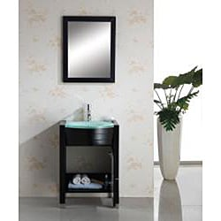 Virtu USA Suzie 24-inch Espresso Single-sink Bathroom Vanity with Mirror - Thumbnail 1