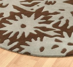 Hand-tufted Luscious Brown Wool Rug (8' Round) - Thumbnail 1