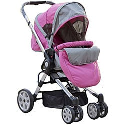 BeBeLove 2-in-1 Pink Bassinet Stroller - Free Shipping Today ...