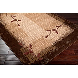 Loomed Free Form Chocolate Border Rug (7'9 x 11'2) - Thumbnail 1