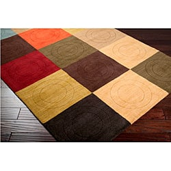 Hand-tufted Contemporary Multi Colored Square Tailored Wool Geometric Rug (9' x 13') - Thumbnail 1