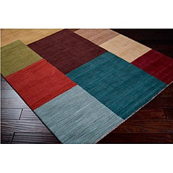 Hand-Tufted Contemporary Multicolored Squares Tailored Wool Geometric Area Rug (9' x 13')