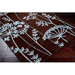 Loomed Replica Brown Floral Rug (5'3 x 7'6) - Thumbnail 1