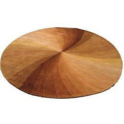Hand-tufted Wool Brown Contemporary Abstract  Swirl Rug (6' Round) - Thumbnail 1