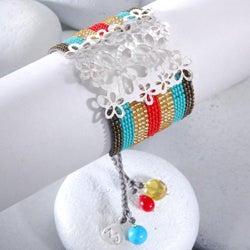Sterling Silver Wild Flowers Beaded Bracelet (Colombia) - Thumbnail 1