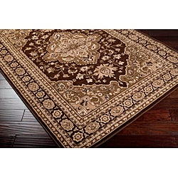 Loomed Free-form Chocolate Brown Geometric Rug (7'9 x 11'2) - Thumbnail 1